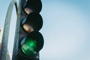 Stoplight with red light cameras